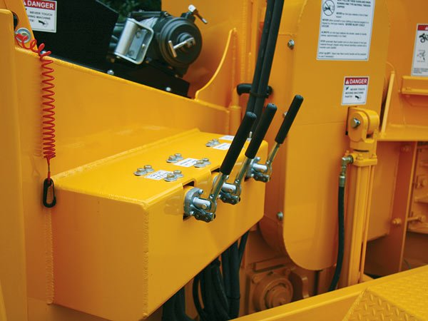 Hydraulic Control Valves are mounted in a heavy duty enclosure to protect them from damage.