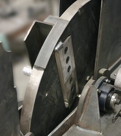 Precision Ground High Speed Balanced Chipping Disk. J.P. Carlton's chipper disks are perfectly round (no flat spots like competitive chippers) they are also high speed balanced – this combination provides for an extremely smooth chipping action that prolongs bearing and machine life.
